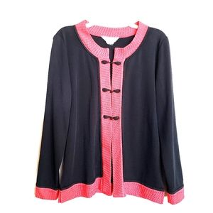 Exclusively Misook knit black/red asian cardigan